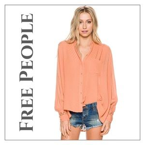 NWOT Free People Peach Best Button Down Shirt